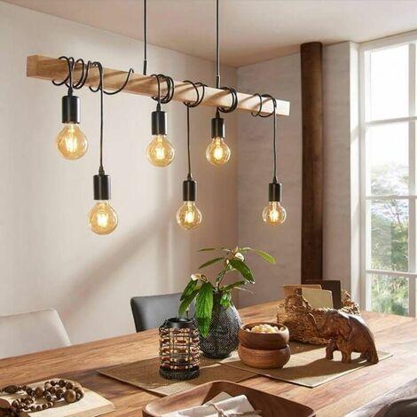 Lampe suspendue linéaire Townshend L100 cm 6 ampoules - Bois - Noir - Noir