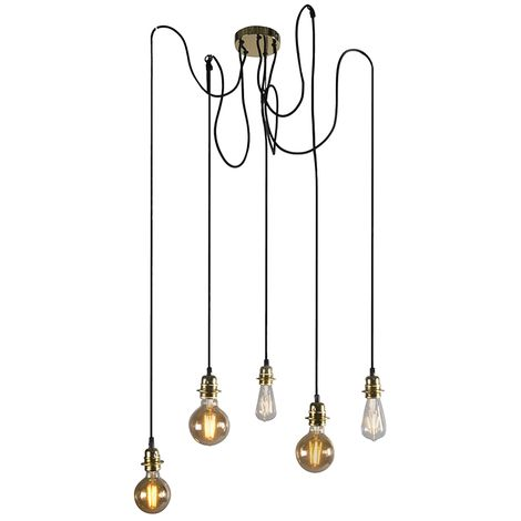 Lampe suspendue Moderne dorée dimmable - Cava 5 Qazqa Moderne Minimaliste Vintage Luminaire interieur Rond