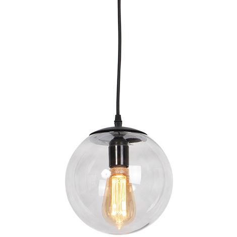 Lampe suspendue Moderne gris 20 cm - Pallon Qazqa Moderne Luminaire interieur Globe