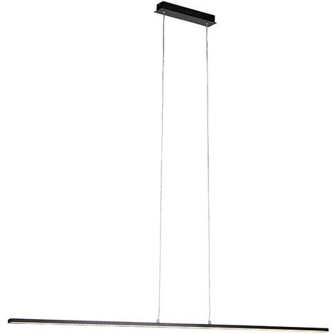 Lampe suspendue Moderne noire 150 cm avec LED - Banda Qazqa Design, Moderne Luminaire interieur