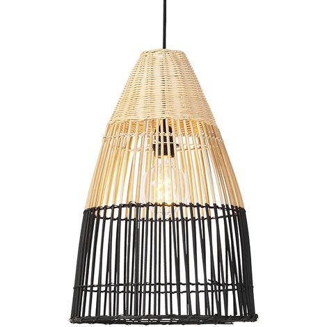 Lampe suspendue nationale en bambou avec noir - Bambou Qazqa Rustique, Rustique Luminaire interieur Rond