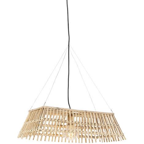 Lampe suspendue nationale en bambou - Cane Recta Qazqa Rustique Luminaire interieur