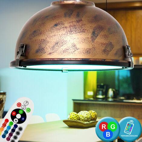 Lampe suspendue plafond vintage Télécommande Dimmable ensemble de luminaires en cuivre brun, y compris les ampoules LED RVB