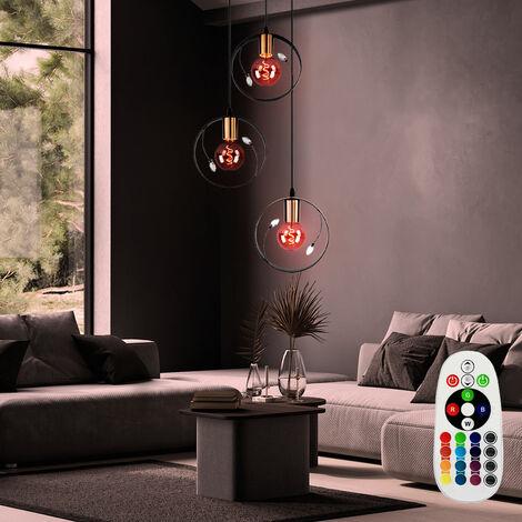 Lampe suspendue rétro avec télécommande en cristal, variateur incl. Ampoule LED RGB incluse