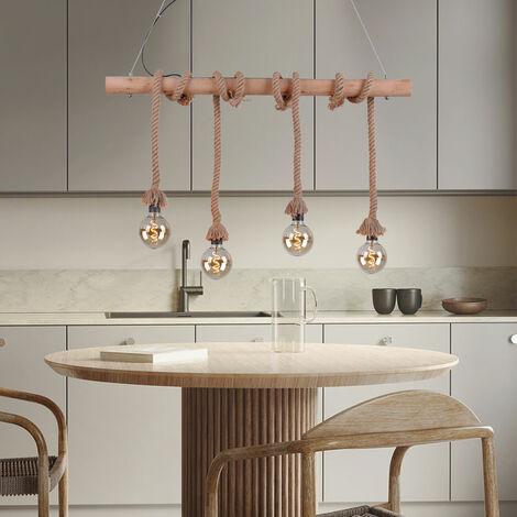 Lampe suspendue vintage en filament de bois poutres plafond lampe corde rétro pendentif spotlight dans un ensemble avec lampe LED