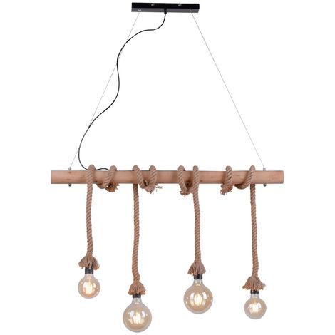 Lampe suspendue vintage poutres en bois plafonnier corde rétro salon pendentif spotlight lumières direct 15483-18