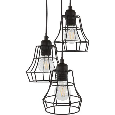 Lampe suspension 3 abat-jours noirs PECWAN
