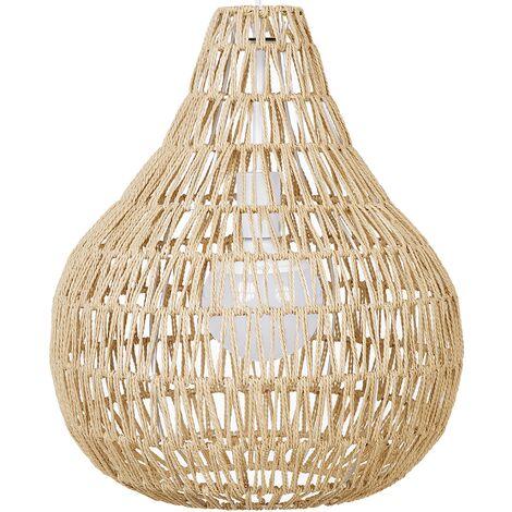 Lampe suspension avec abat-jour tressé beige sable