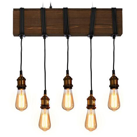 Lampe suspension Bois, 5 ampoules, E27, rustique, Salle à manger et salon, lampadaire HlP157 x 56x13cm noir