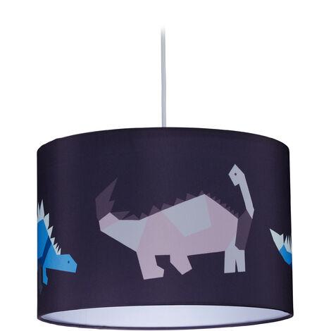 Lampe suspension Dino, abat-jour rond, motif dinosaure, chambre d'enfants 127 x 30 cm, violet