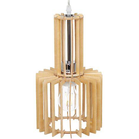 Lampe suspension effet bois clair NIARI
