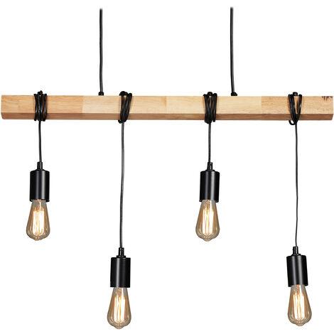 Lampe suspension en Bois, 4 ampoules à suspendre, aspect rustique, E27, lampe table à manger retro,noir,nature