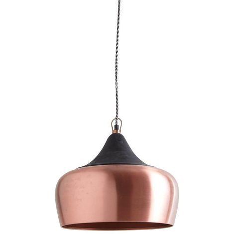 Lampe suspension en métal laqué et bois