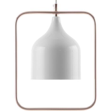 Lampe suspension minimaliste en métal blanc et cuivré