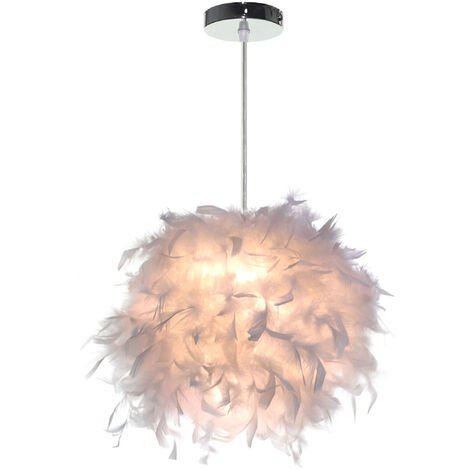Lampe Suspension Plumes Blanches Ø 24 - 28cm