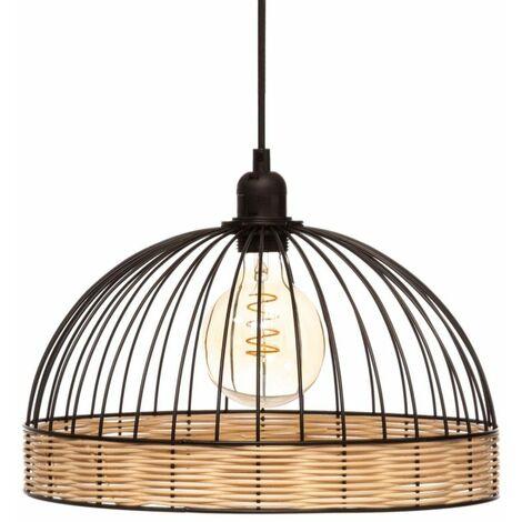 Lampe Suspension Rotin & Métal Suwa 35cm Noir