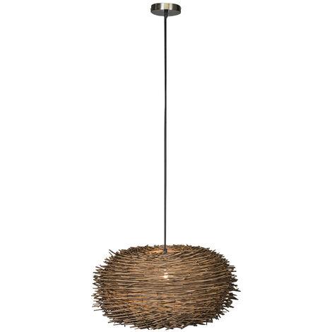Lampe Suspension salle a manger rurale en rotin - Hatch 45 Qazqa Moderne Luminaire interieur Globe