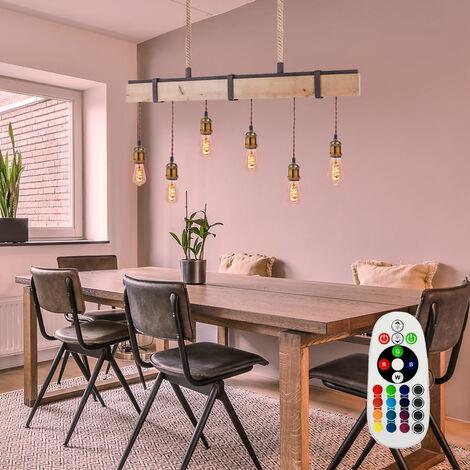 Lampe suspension salon poutres en bois plafonnier TÉLÉCOMMANDE dans un ensemble avec éclairage LED RGB