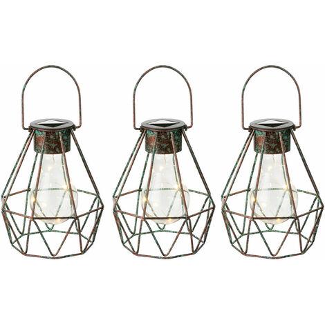 Lampe suspension solaire pour décoration de jardin extérieur vintage pour lampes de jardin suspendues suspendues solaires, dans la grille design bronze, 5x LED 3500K, DxH 16x 13, lot de 3