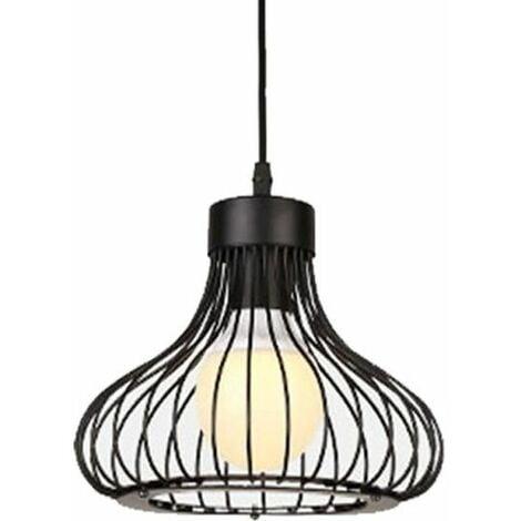 Lampe Suspension Vintage Cage fer, E27 Lustre Plafonniers Style Retro Industrielle, Noir