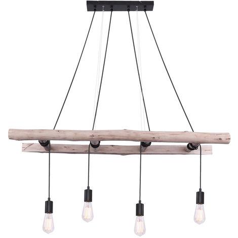 Lampe suspension vintage echelle en bois suspension luminaire plafonniers salon eclairage Globo 15348-4
