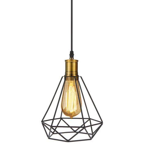 Lampe Suspensions Abat-Jour Cage en Métal Diamant Cage Lampe de plafond avec Câble Décoration pour restaurant Chambre Salon ?Sans ampoules?