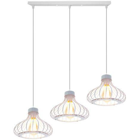 Lampe Suspensions Abat-Jour Cage en Métal Lampe de plafond Corde Ajustable Décoration pour restaurant Chambre Salon,Blanc