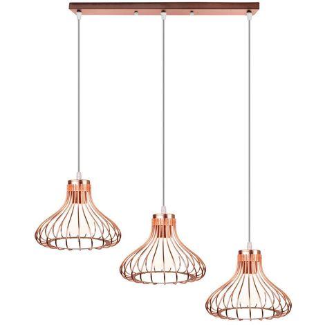 Lampe Suspensions Abat-Jour Cage en Métal Lampe de plafond Corde Ajustable Décoration pour restaurant Chambre Salon,Or rose