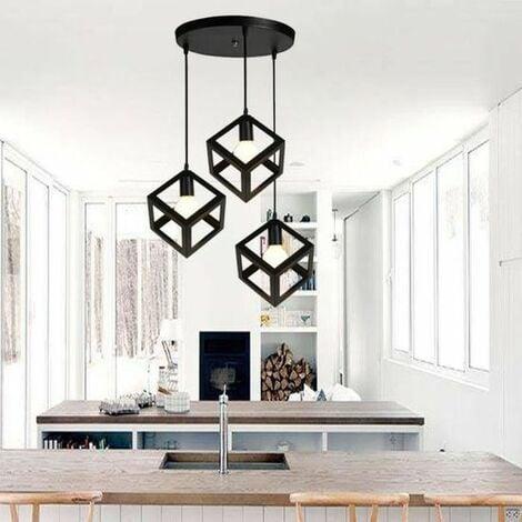 Lampe Suspensions Plafonnier Cube E27 Noir Lustre Abat Jour Avec