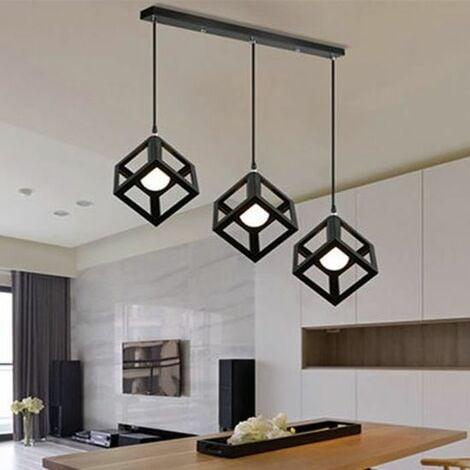 """main image of """"Lampe Suspensions Plafonnier Cube Luminaire 3 Lampes, Lustre Abat-jour avec Douille Applique d'Eclairage E27 Noir"""""""