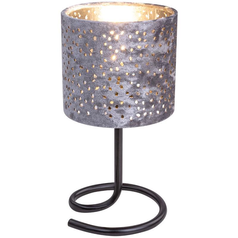 Lampe table, abat jour argent trous perforés, velours chromé