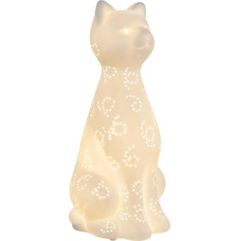 Lampe table câble mat câble 1,8 m porcelaine blanche décoration luminaire animal design Globo 22805
