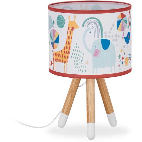 Lampe table de chevet enfants, animaux, Garçonnets et fillettes, abat-jour sur trépied, HxD40 x 25 cm,coloré