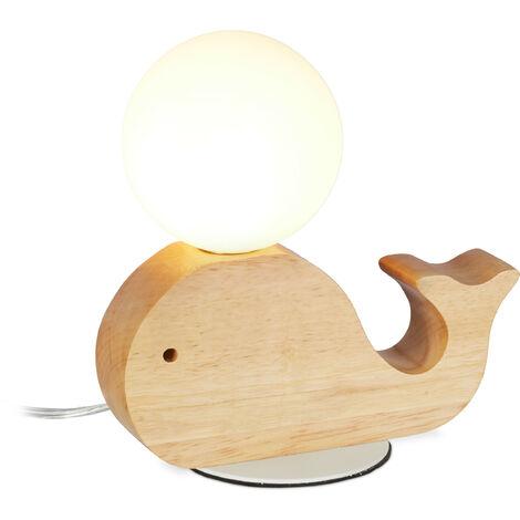 Lampe table de nuit enfants, chambre bébé, G9 7W, Baleine bois, boule de verre, LED 20x20x10cm, blanc-nature
