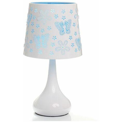 Lampe tactile papillons - Bleu - Système d'allumage au toucher