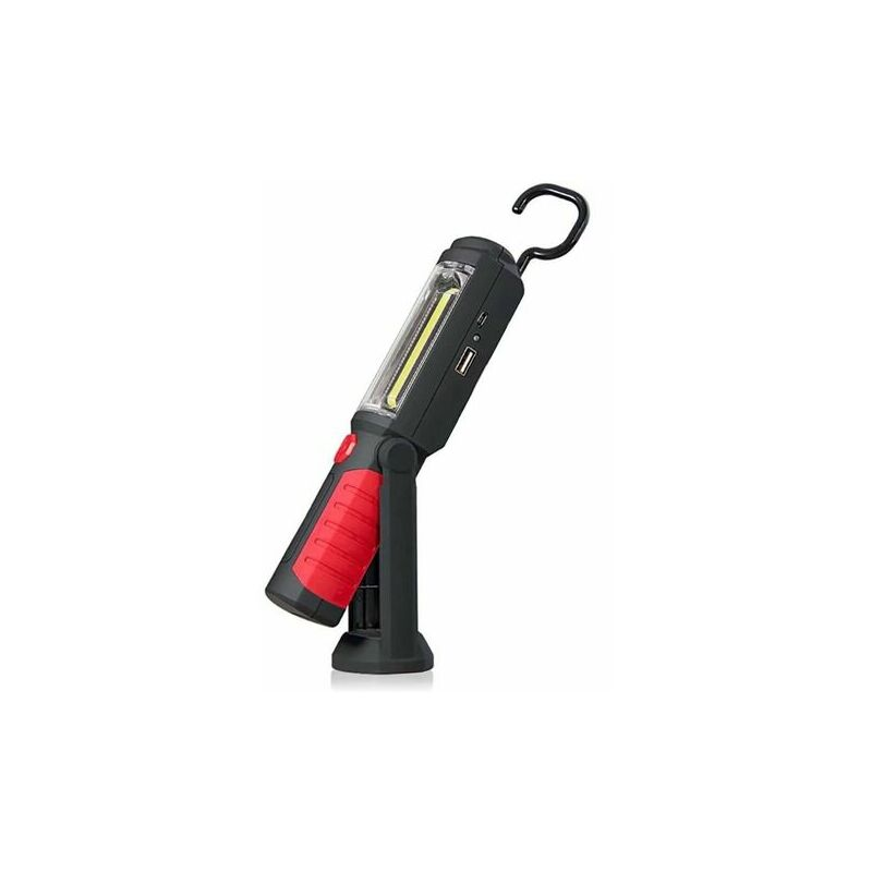 Lampe Torche LED Rechargeable Mains-Libres 3W Baladeuse à LED COB 2 en 1 Lampe de Poche pour Camping/Randonée/Auto/Garage/Atelier, Deux Modes