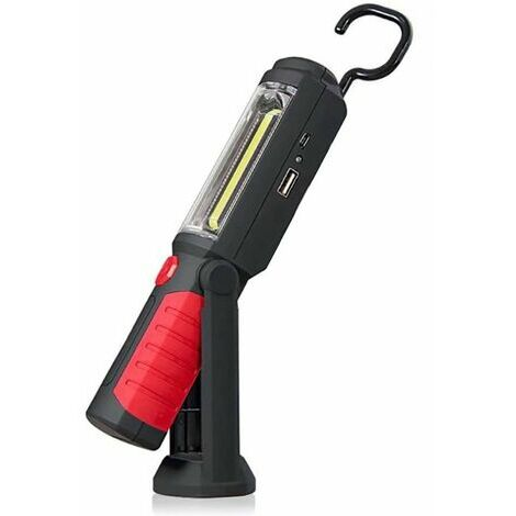 """main image of """"Lampe Torche LED Rechargeable Mains-Libres 3W Baladeuse à LED COB 2 en 1 Lampe de Poche pour Camping/Randonée/Auto/Garage/Atelier, Deux Modes d'Allumage, Rouge"""""""