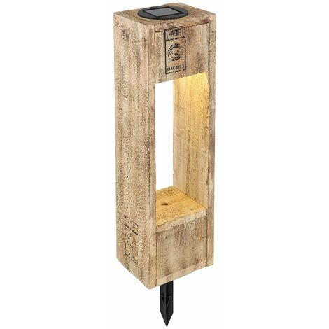 Lampe torche solaire pour extérieur scintillant lampe à brancher bois solaire pour extérieur avec effet de flamme, forme de palette marron, 1x LED blanc chaud, LxH 11x40,3 cm