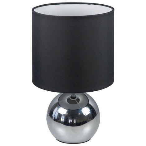 Lampe Touch 3 intensités, chrome, abat-jour tissu
