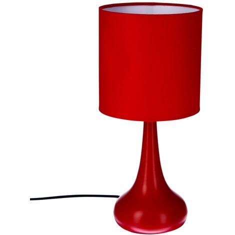 Lampe Touch en métal - H. 33 cm - Rouge