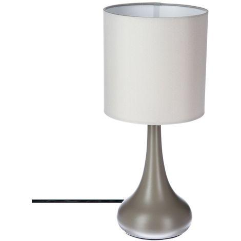 Lampe Touch en métal - H. 33 cm - Taupe