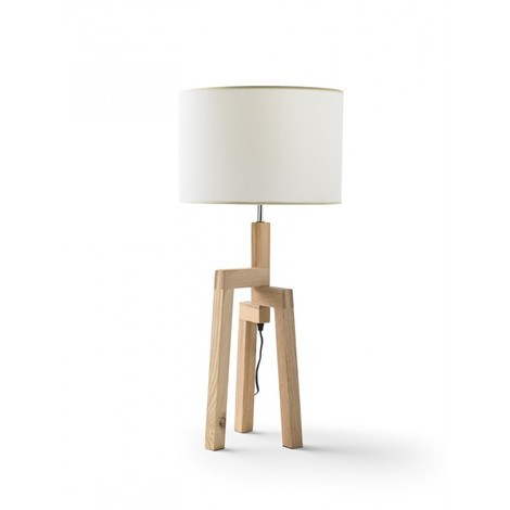 Lampe trépied 75cm en bois et abat jour blanc MATHILDE L 35 x l 35 x H 75