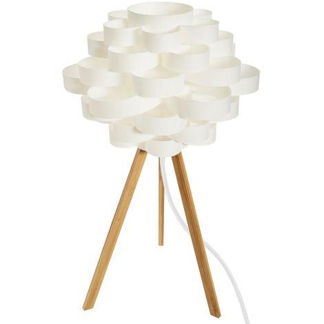 Lampe trépied en bambou blanc - H 56,5 cm -PEGANE-