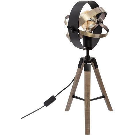 Lampe trépied en bois et métal - L.25 x l.21 x H.54 cm -PEGANE-