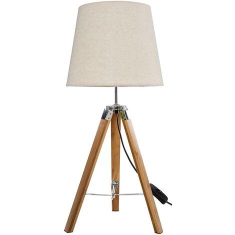 Lampe trépied en bois RUNO Bambou H58 cm - Beige
