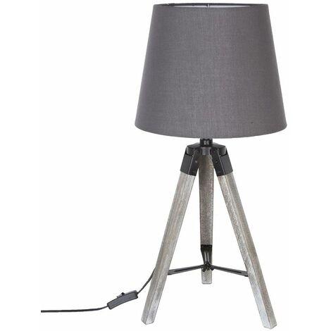 Lampe trépied en bois RUNO GRIS H58cm - Gris