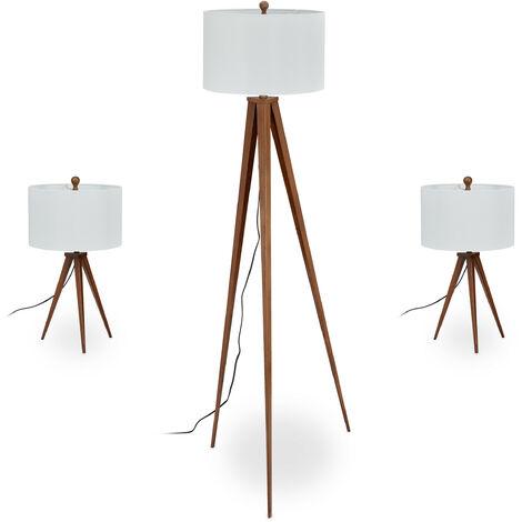 Lampe trépied en lot de 3, 1 lampadaire et 2 pour le chevet, design rétro, E27, avec câble, marron/blanc