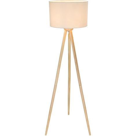 Lampe trépied LED, bois, abat-jour textile, blanc, H 173 cm, GREGOR