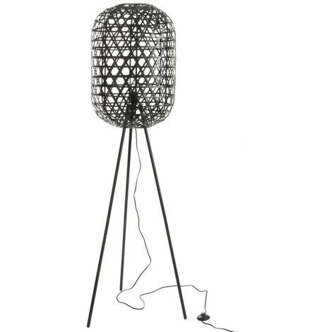 Lampe Trepied Ronde Bambou/Metal Noir