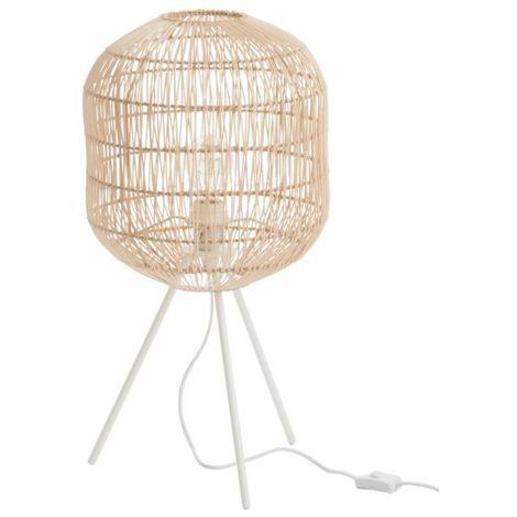 Lampe Trepied Ronde Papier/Metal Naturel/Blanc
